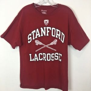 Stanford Lacrosse Champion tee shirt red size L